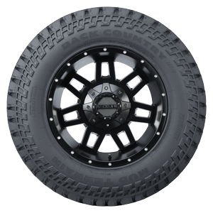 Back Country MT Tire sidewall view, black lettering
