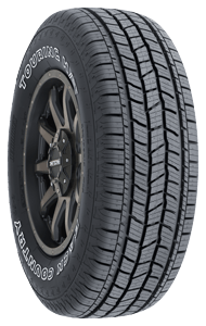 Back Country QS-3 Highway Tire tread view, outlined white lettering